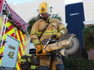 """During an emergency call, firefighters must move quickly in order to get to the scene. """"Sometimes we're required to extract the victim of a vehicle accident from their car with the chainsaws,"""" said Taylor."""
