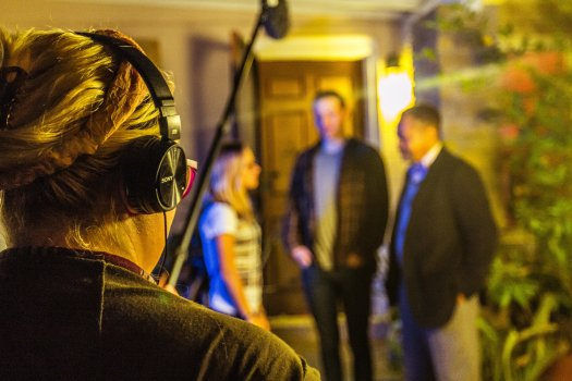 "Dusty Winters is pictured managing the audio for Wint's film. Wint called her the ""audio master."""