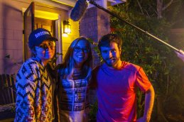 Joshua Noel, the producer for In Search of Noelle, and Alexa Wint, the director of the film, pose with Groy in between takes. Both Noel and Wint are working together on each other's student films and have Groy acting in both.