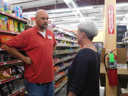 In the beginning of the walk, the group met up at the local family dollar, where the mayor spoke with the store manager about their annual sale increases and any other economic issues they may be facing.