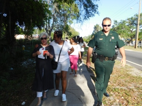 The St. Johns County Sheriff's Office joined the mayor on her walk through the town, halting traffic if need be and safely escorting the group on their hour long walk.