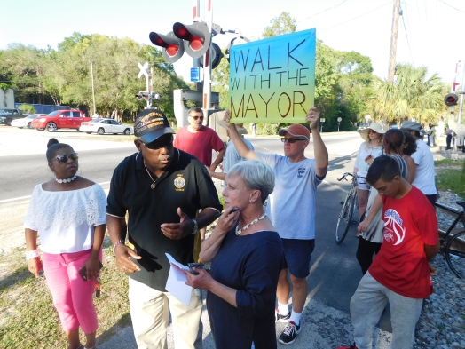 "In the early evening, the mayor participated in an event called ""Walk with the Mayor"" in West Augustine."